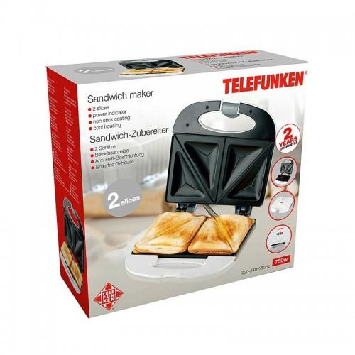 Telefunnken Τοστιέρα 800W Διπλή 01476 Black