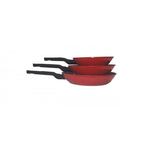 Σετ Αντικολλητικά Τηγάνια 3 Τεμαχίων, Imperial Collection CookSet Dekoch Premium DK-F3-RED